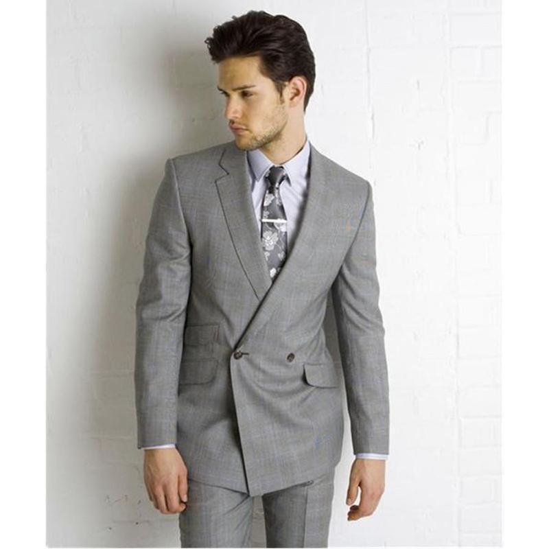 Custom Made Light Grey Double Breasted Suit Side Vent Slim Fit Men Suit Wedding mens Suits Bridegroom 2 Pcs(Jacket+Pants+Tie)