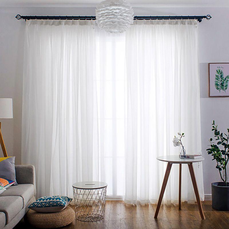 Şeffaf Beyaz Tül Perde İçin Salon Yatak Odası Mutfak Kısa Küçük Voile Şeffaf Perdeler Modern Pencere Uygulamaları Hayta