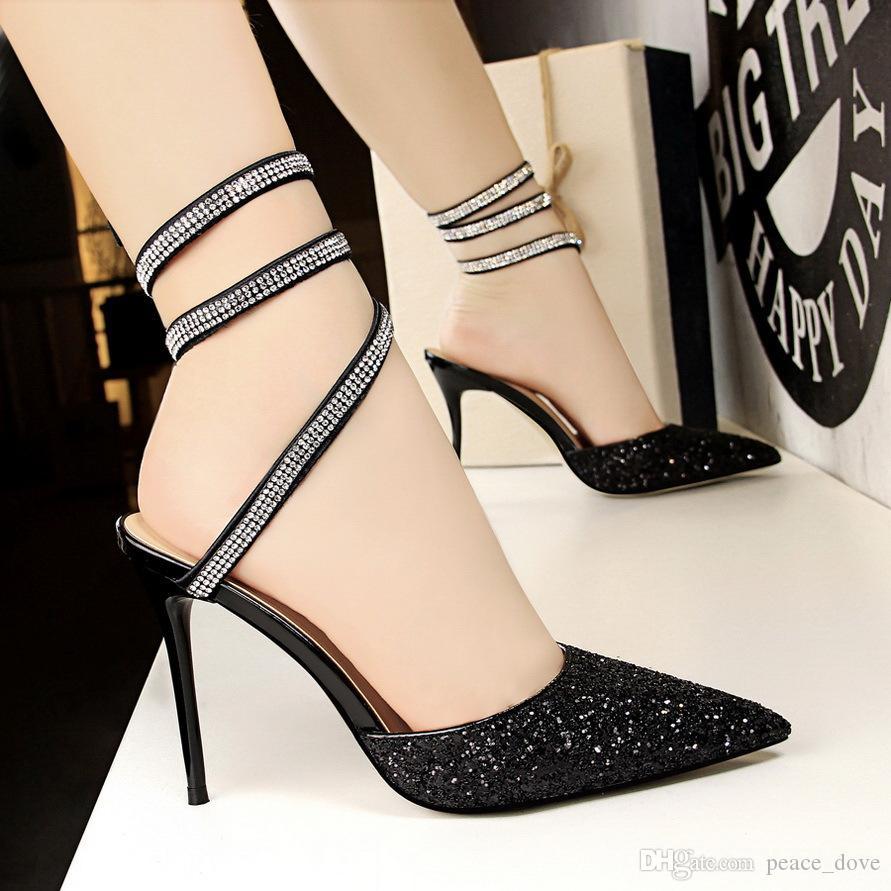 Zapatos para mujer moda de verano 2019 sandalias de strass brillos sandalias atractivas slingback punta estrecha tacones altos fetiche zapatos de tacón mujer