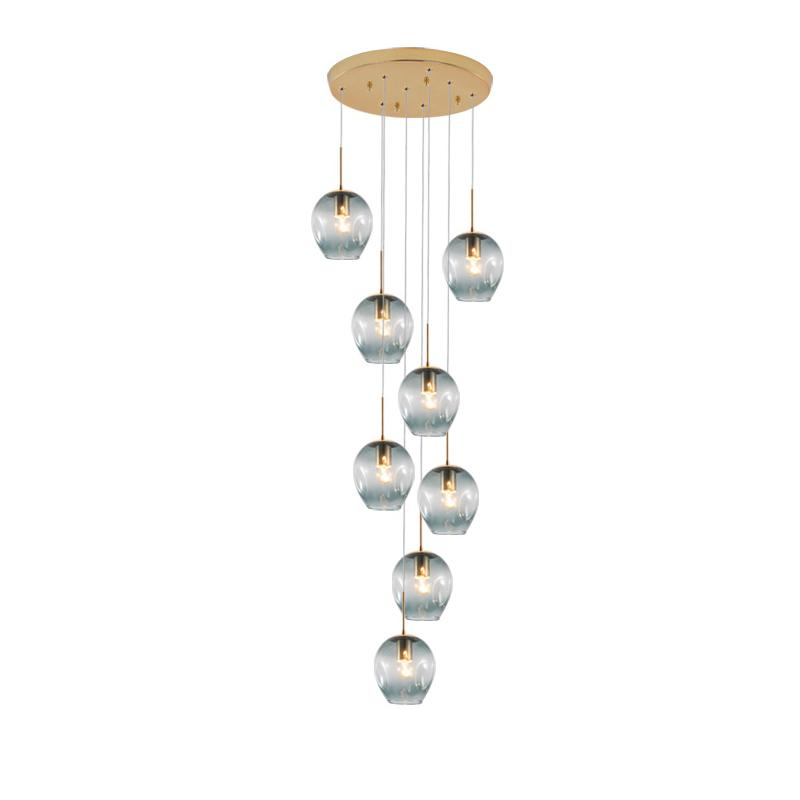 İskandinav kişilik cam Merdiven kolye Aydınlatma dönen merdiven, modern minimalist apartman merdiven LED kolye cam lambalar