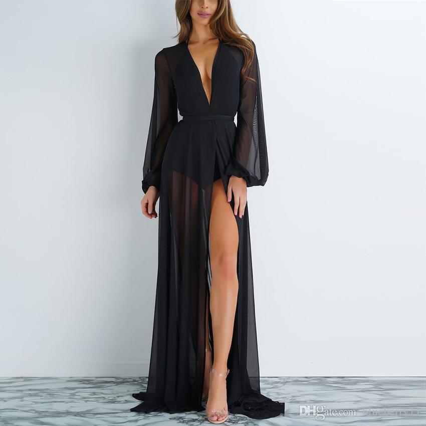 Mulheres Sólida Chiffon Quimono Verão Beach Holiday Cardigan Bikini Capa Envoltório Beachwear Solto Longo Vestido S-XL