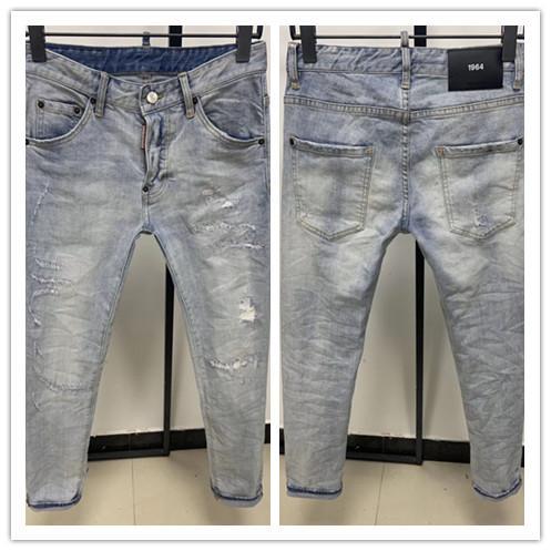 2020 nueva marca de pantalones vaqueros ocasionales de los hombres americanos, el lavado de alto grado, moler a mano puro Europea de moda y, optimización de la calidad L9701