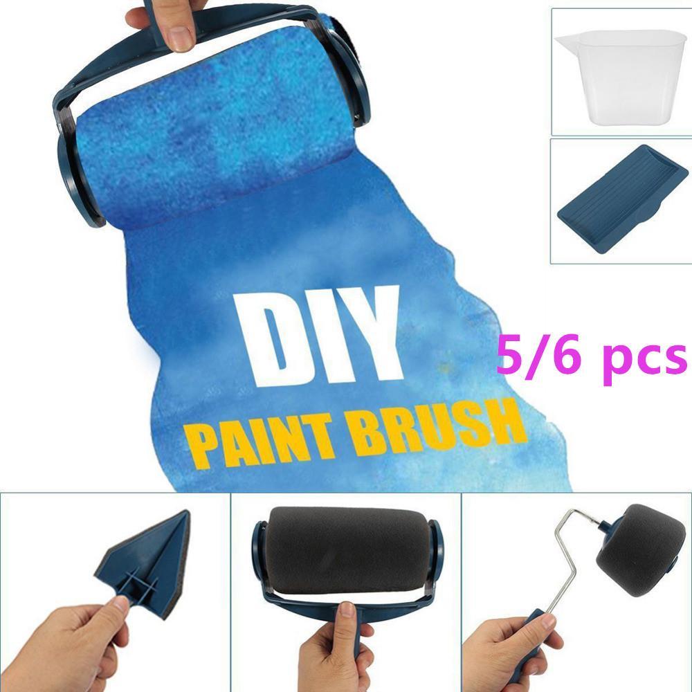5 / 6pcs Pinte Runner rolo da escova do cabo da ferramenta reunido Edger Escritório Sala de pintura de parede Início Ferramenta rolo de pintura jogo de escova