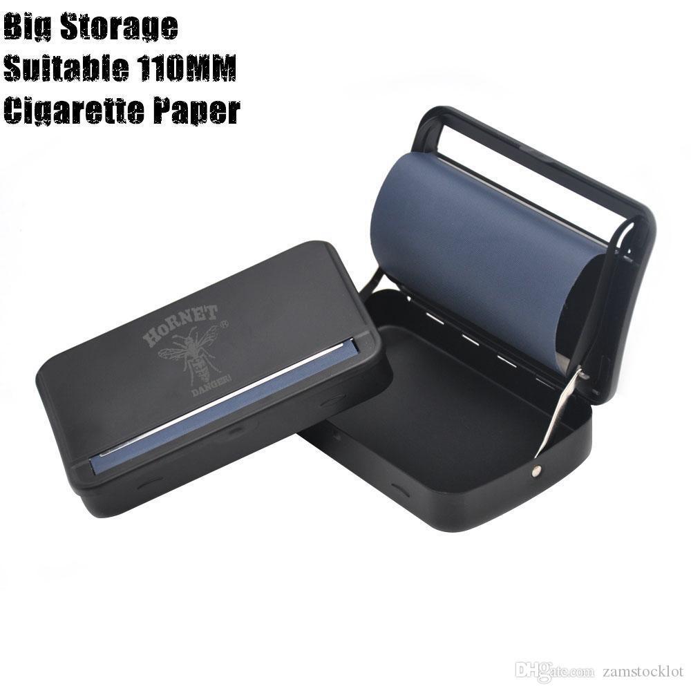 Balanceo automático de metal caja de la caja de la máquina del cigarrillo del rodillo del tabaco de ponencias 110MM del cigarrillo del balanceo cono de papel de metal fumadores tubería seca la hierba