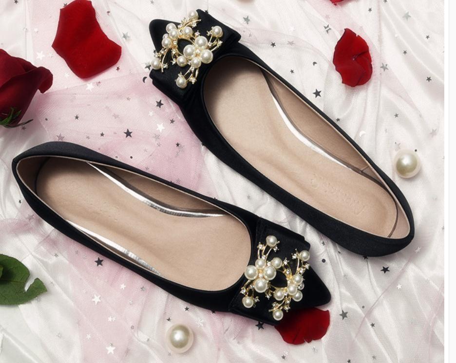 2020 La primavera y el otoño con sedas Nueva moda estilo de fondo plano en punta bowknot finales y los satenes zapatos de mujer @ TY1