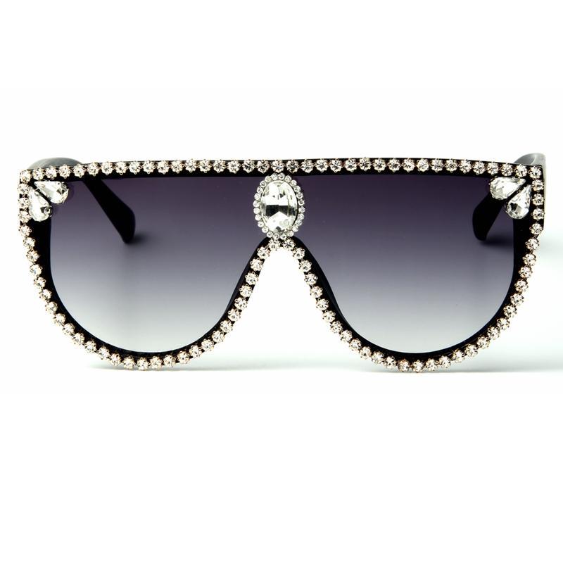 Quadratische Übergroße Sonnenbrille Frauen 2018 Mode Sonnenbrille Strass Marke Designer Vintage Shades Gafas oculos de Sol Uv400 SPKTQ