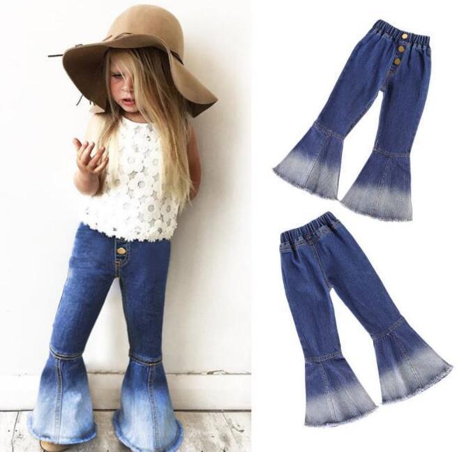 Girl Pants Girls Flare Trousers Denim kids designer clothes girls Jeans Bell Bottoms Pants Wide Leg Trouser Kids Designer Clothes BY1467