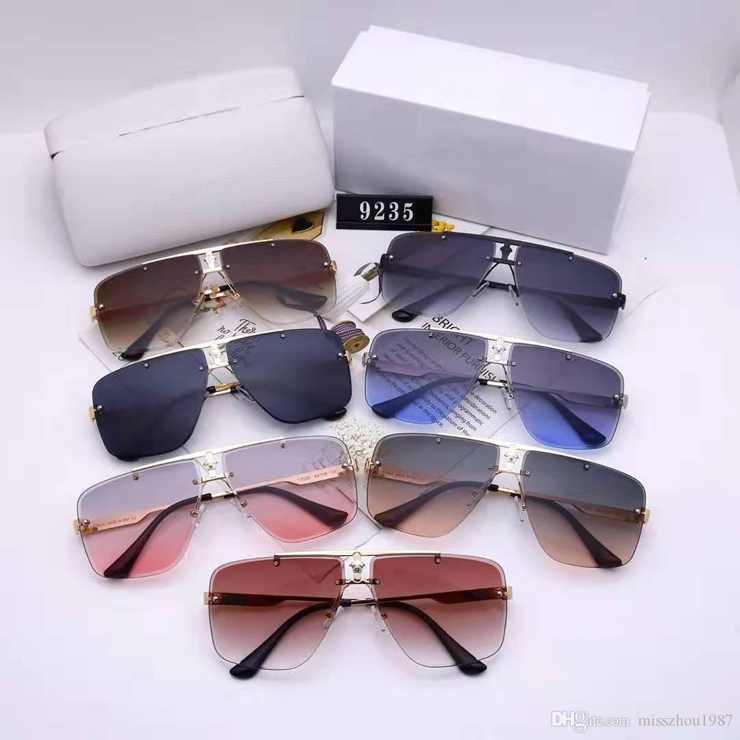 1080 Sonnenbrille Randlosbrille Anschluss Objektiv UV400 Männer Designer UV-Schutz-Objektiv Steampunk Sommer Quadrat-Art Comw mit Paket