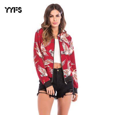 Uçan Vinç Baskılı Beyzbol Takım Elbise Uzun Kollu Fermuar Palto Ve Ceketler Kadınlar Sonbahar Rahat Cebi Veste Jean Femme