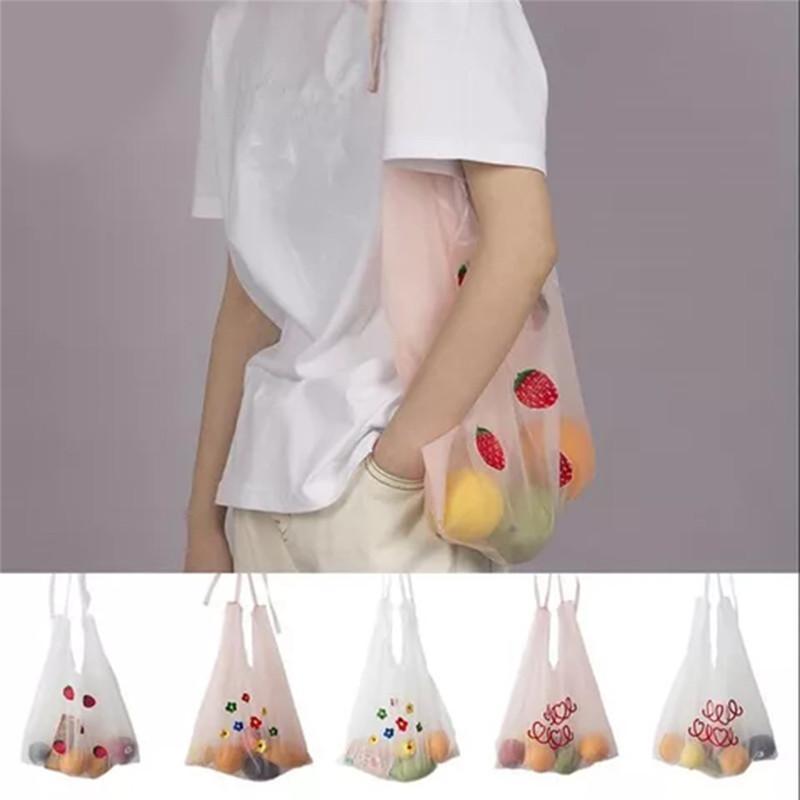 2020-Sommer-neue Organza-Handtaschen-Stickerei-Schulter-Beutel-Mädchen Einkaufstaschen Frauen Tote Studentenhandtasche koreanischer Stil