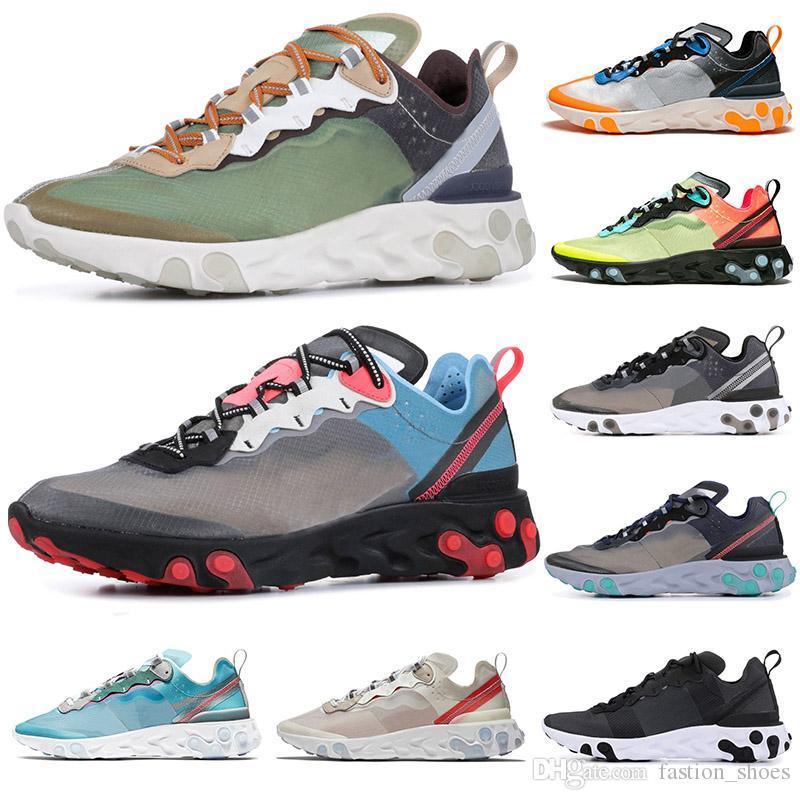epices react element 87 men womens running shoes triple white sail black dark grey NEPTUNE GREEN royal tint bule fashion brand sport sneaker
