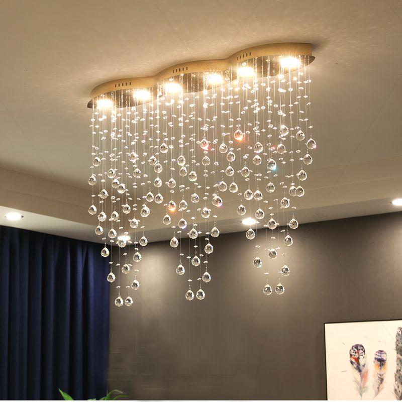Tablo Kristal Avize Bar Kristal Avizeler Yemek Yemek Odası Şerit Kristal Asma Lamba Basit Modern Dikdörtgen Art Restaurant