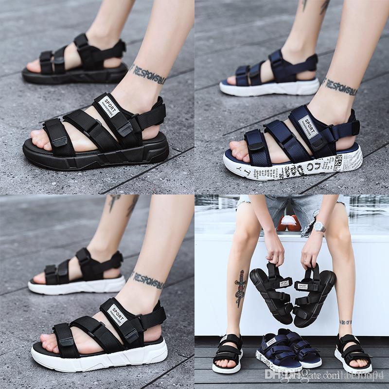 Versandkostenfrei Europäische Markenentwerfer Sandalsmen Sommer Sandalen schwarz weiß blau Anti-Rutsch Schnell trocknend Außen Pantoffeln weiches Wasser-Schuh