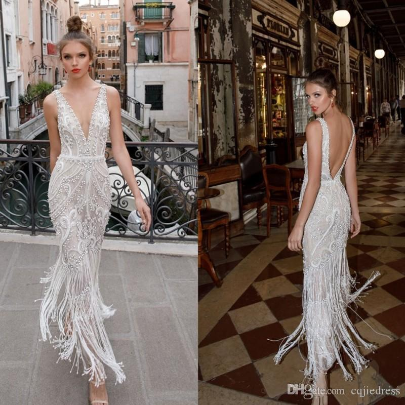 Berta 2020 Nueva playa vestidos de novia de los granos del cordón sin respaldo apliques Escote profundo de la vendimia Vestidos de novia vestido de novia de la altura del tobillo 90