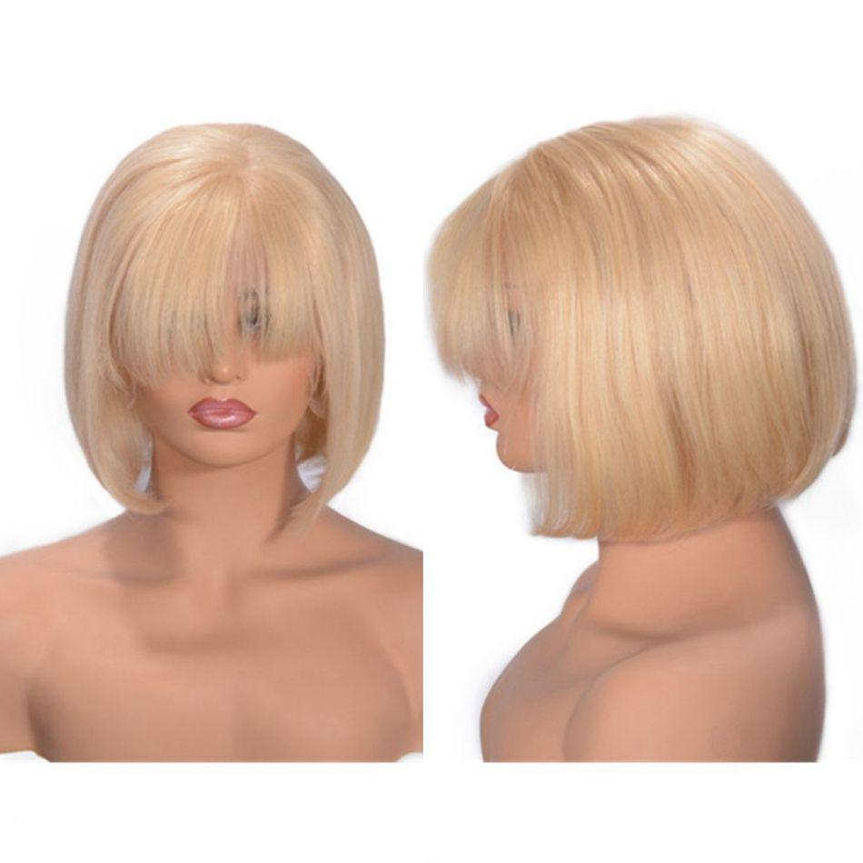 앞머리 스트레이트 페루 금발 인간의 머리 투명 레이스 짧은 밥 가발 130 % 밀도 (613) 전체 레이스 가발