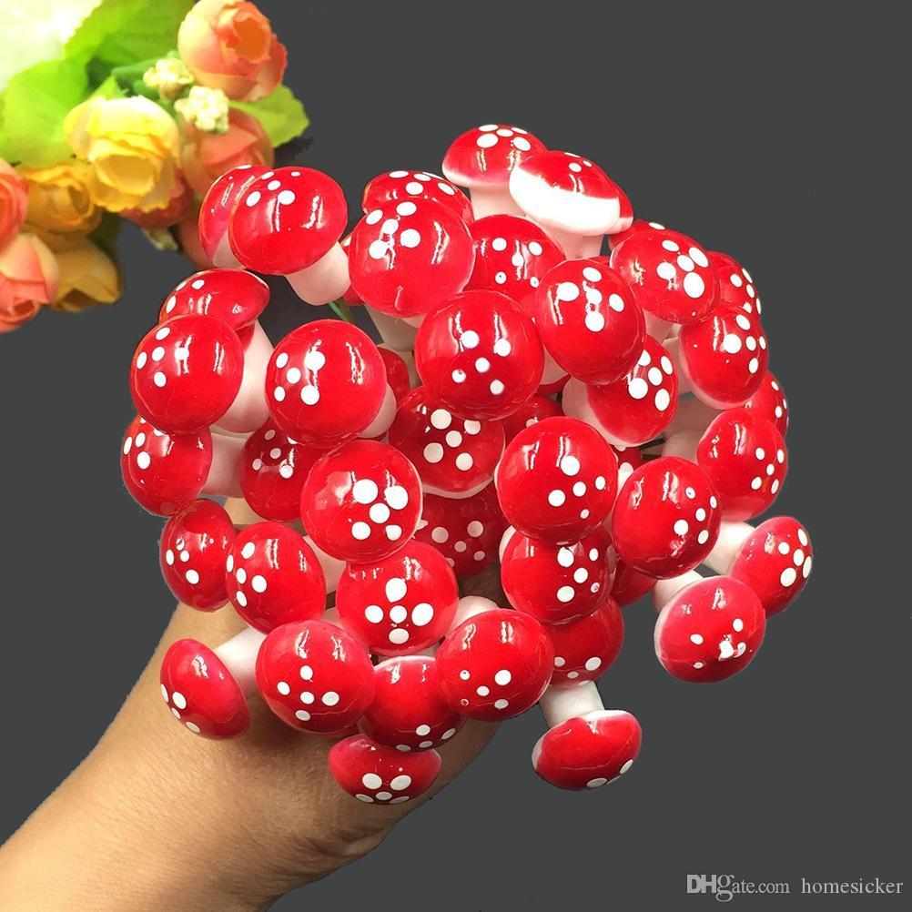 홈 2cm 미니 버섯 미니어처 인공 정원 요정 모스 지 공예 장식 스테이크 공예