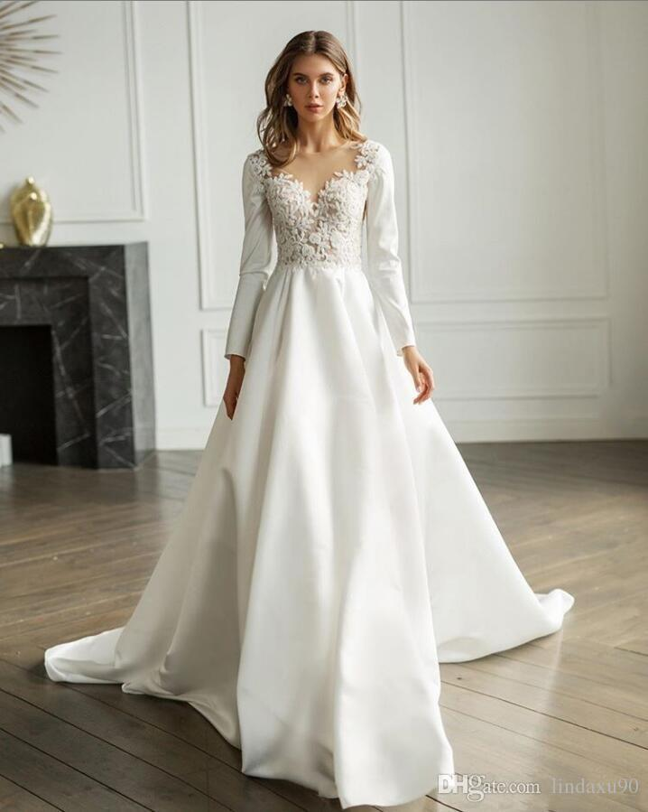Discount 2020 Simple Satin Wedding Dresses Long Sleeve Lace Appliqued V Neck Bridal Gowns For Beach Gardens Sweep Train A Line Wedding Dress Wedding Gown Designs Alternative Wedding Dresses From Lindaxu90 106 5,Plus Size Dresses For Wedding Guest Summer