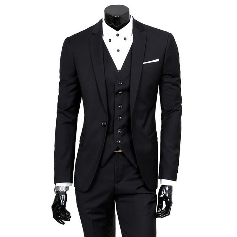 2020 Nouvelle 3 pièces Costumes de Slim Mode pour hommes d'affaires Costume Vêtements décontractés hommes Blazers Veste Ensembles Pantalons Gilet