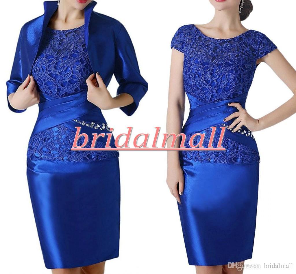 Vestidos de noche con apliques de encaje azul real 2020 plisados de satén vestido de recepción Formal hasta la rodilla vestido de madre de talla grande vestidos de fiesta
