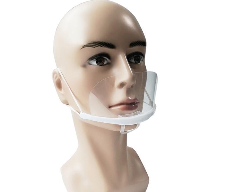 Descartável plástico máscara transparente lente sorriso anti-nevoeiro gotas restaurantes restaurantes restaurantes catering máscaras atacado 20 pcs