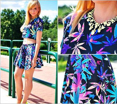 Kadınlar Bayanlar Çiçek tulum BODYCON Parti Tulum Elbise Seti Crop Top + Etek