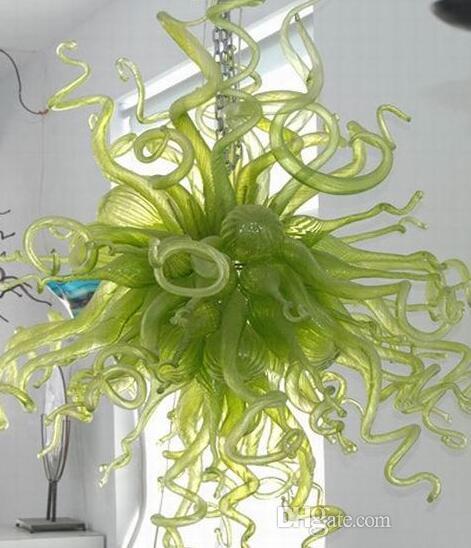 Lampadari a soffiati verdi Lampade a lampada per la decorazione di arte della decorazione della catena della catena del vetro della catena di vetro dell'apposto