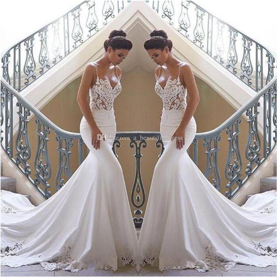 Spaghetti Straps Lace Mermaid Beach Wedding Dresses Satin Lace Applique Sweep Train Boho Wedding Bridal Gowns robes de mariée
