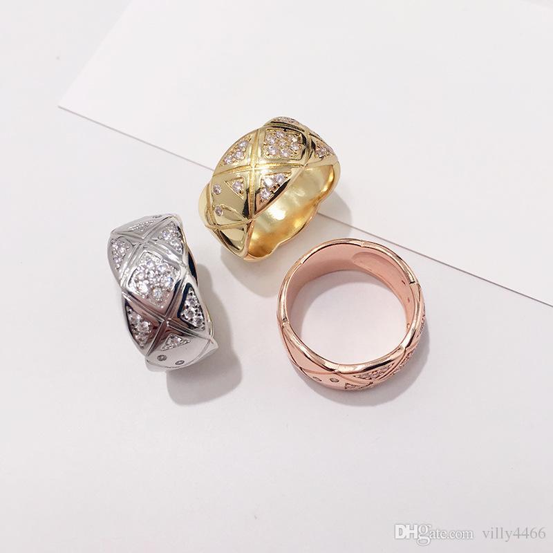 2019 neue Art und Weise Zircon Kristall Titan-Edelstahl-Ringe Schmuck für Frauen Männer Hochzeit Schmuck Schönheit anillos Female Ring Accessorize