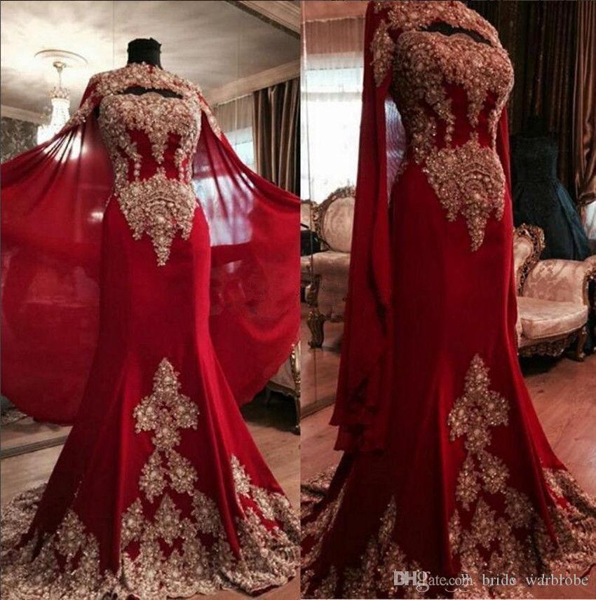 2018 Robes de soirée élégantes sirène rouge avec Wrap deux pièces de dentelle appliqued perles en mousseline de soie formelle robes de bal taille plus robe de reconstitution historique