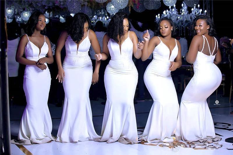 2020 Elegant African Spaghetti Straps Mermaid Bridesmaid Dress Cheap Deep V Neck Wedding Guest Gown Cheap Long Prom Maid Of Honor Dresses