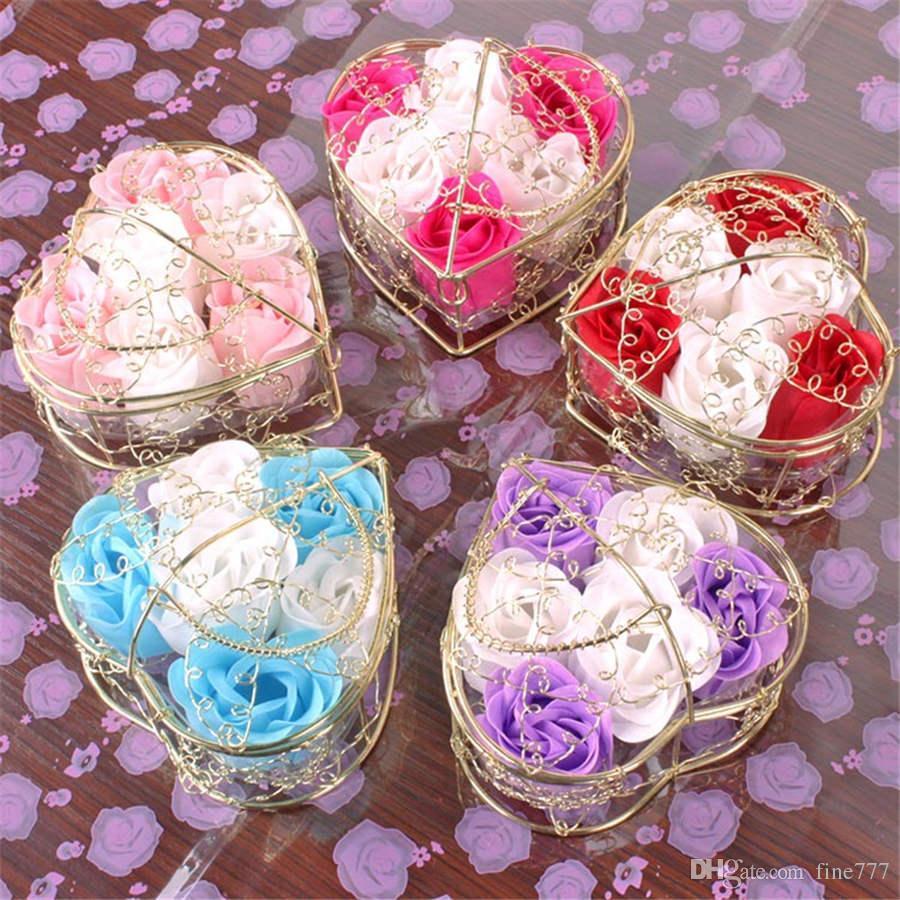 Sevgililer Günü Hediyesi 6 altın kaplama demir sepet gül sabun çiçek sevgililer Günü Sürpriz Düğün Parti Dekorasyon