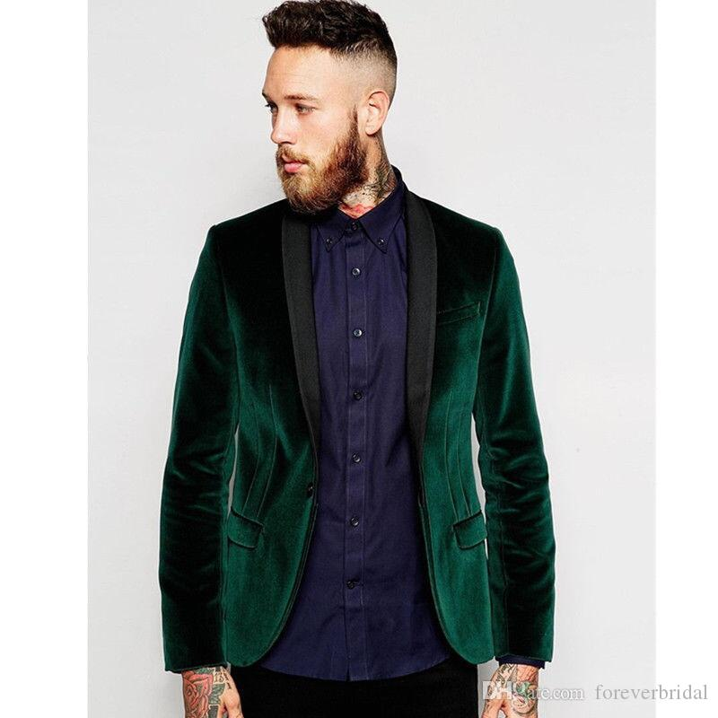 New Design Color Green Velvet Fabric Men's Tuxedos Coats Trim Fit Shawl Lapel One Button Suits Jackets One Piece Per Opp Bag