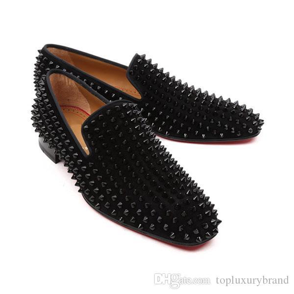 Luxuoso Marca parte inferior vermelha Homme Shoes Men Bussiness Traje Vadias cravado Shoes Slip On Dandelion Sneaker Red Soles Oxford Flats