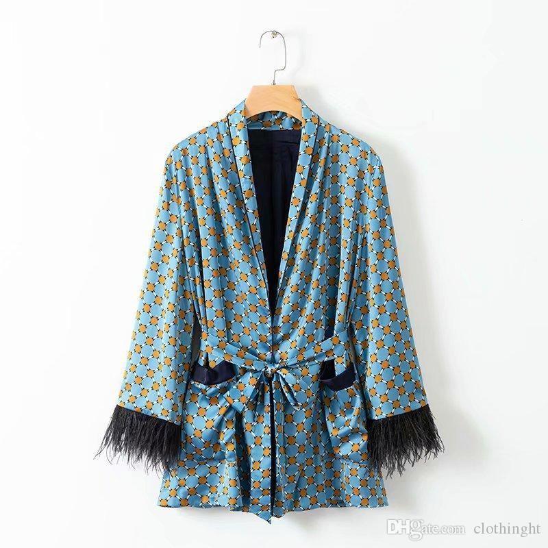 2019 Tuch Frühlings-Frauen Weinlese-Druck Blazer mit Gürtel Harajuku Kimono Mantel-Tasche Feder Quaste Outwear Damen Sakkos Korean