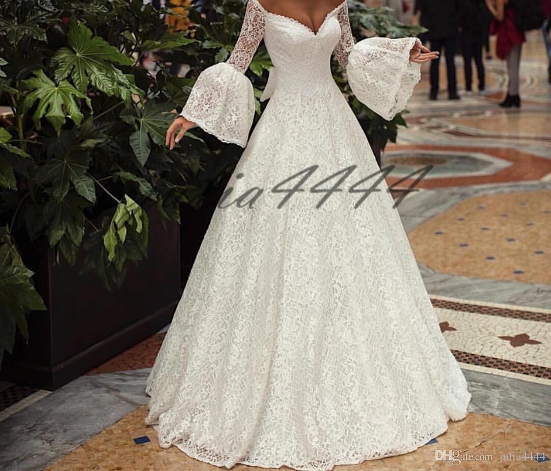 2019 Modest A-Line Wedding Dresses Lace Applique Beach Holiday Back with Bow Elegant Bohemian Garden Backyard Bridal Dress White