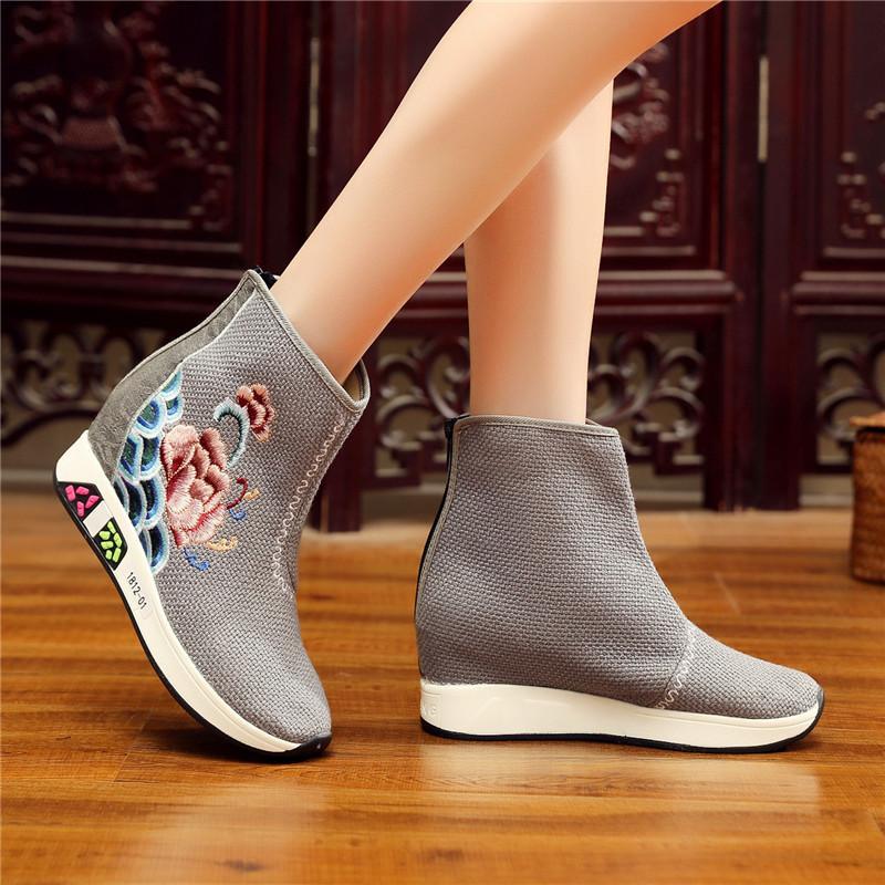 뜨거운 판매 - 중국 스타일 놓은 플랫폼 부츠 여성 가을 레트로 캐주얼 컴포트 여성 부츠 신발 플랫폼 신발 웨지 앵클 부츠