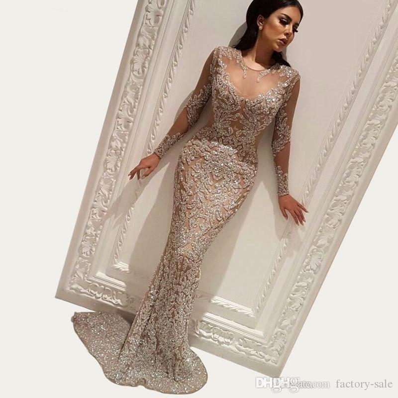 Bling Sequins Muslim Mermaid Evening Dress 2020 Dubai Turkish Arabic Long Sleeves Prom Party Gowns Dresses Custom Made Abendkleider