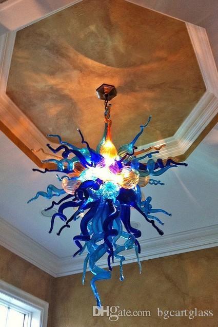 Cina fabbrica OutletMouth soffiato Lampadari di vetro personalizzato colorato soffiato catena di vetro a sospensione Lampade per sala da pranzo Decor