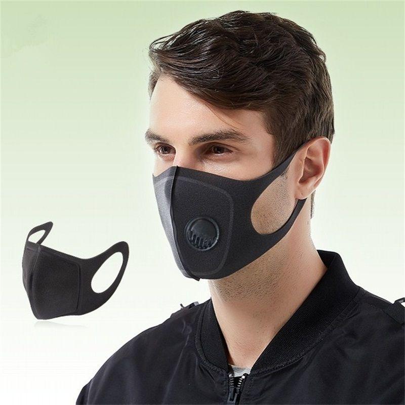 Unisex Maschera Maschere Bocca con la respirazione valvola Tridimensionale nero respiratore Earloop riutilizzabile antipolvere 6 98mh UU