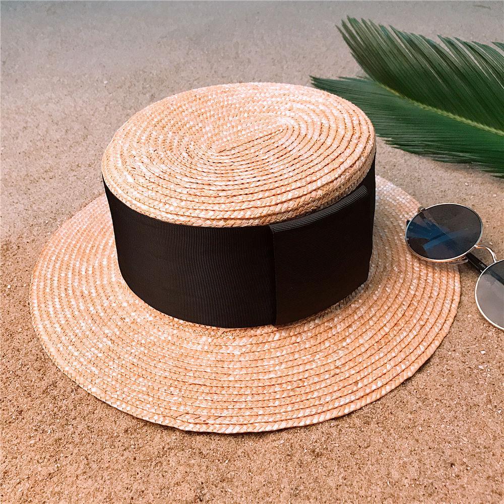 Cappello per il sole paglia di grano Estate Donna piatto paglietta Summer Beach per signora elegante rotonda piatto Cappello a Panama Dimensioni 56-58CM