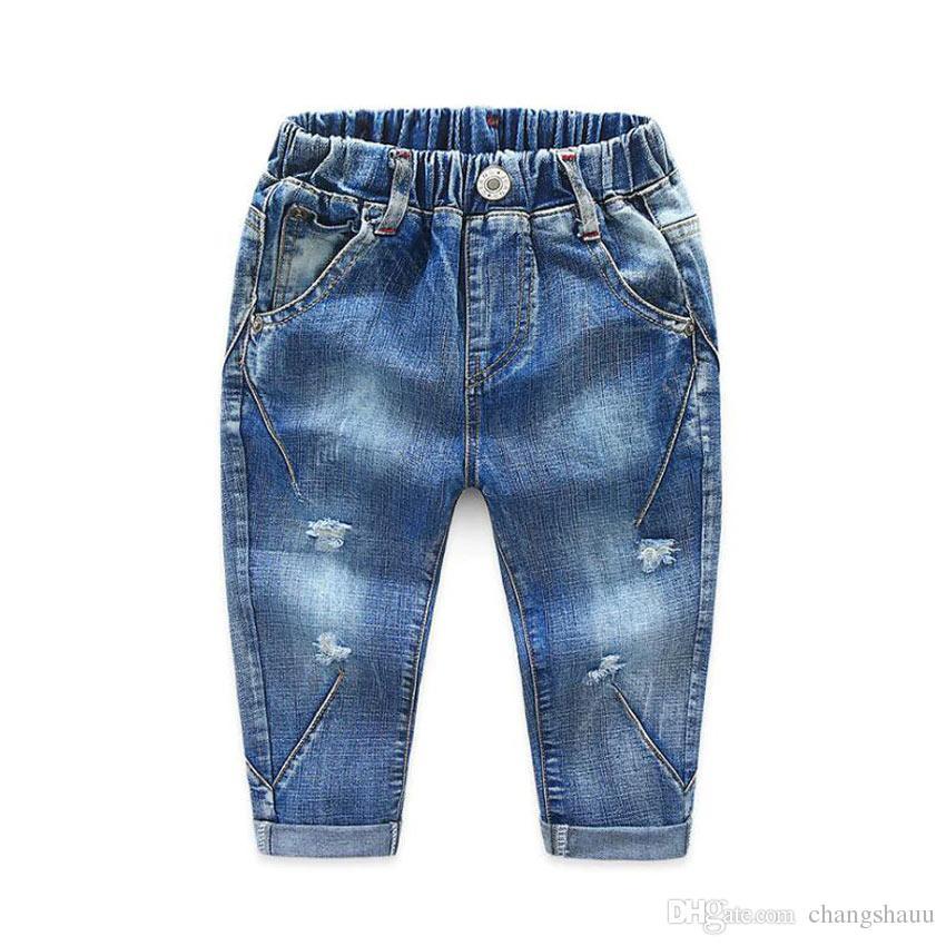 2019 Herbst Mode Baby Jungen Jeans Kinder Mädchen Loch Jeans Quelle Elastische Taille Hosen für Jungen Kinder Denim Hosen