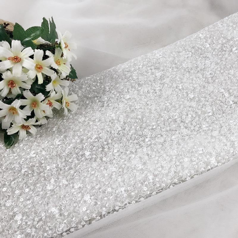 1 метр Бежевого Урожай Снежинка Вышивка Кружево Ткань сетка ткань для вуали венчания платья выпускного вечер украшение аксессуаров