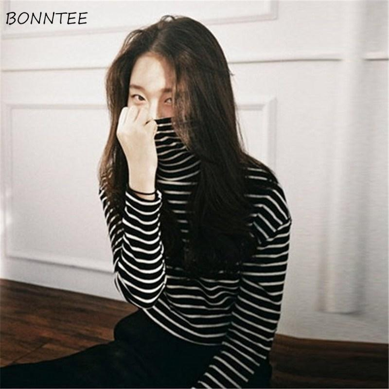 T-shirts Women Striped Leisure Loose Turtleneck Winter Warm Ladies Long Sleeve T-shirt Elegant Korean Style All-match Womens