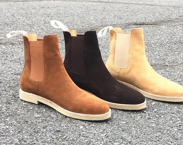 جلد طبيعي جلد الغزال الرجال الأحذية الجانب سستة بارد أسلوب الشارع رجل الكاحل أحذية أحذية جولة تو روما الذكور عارضة الأحذية