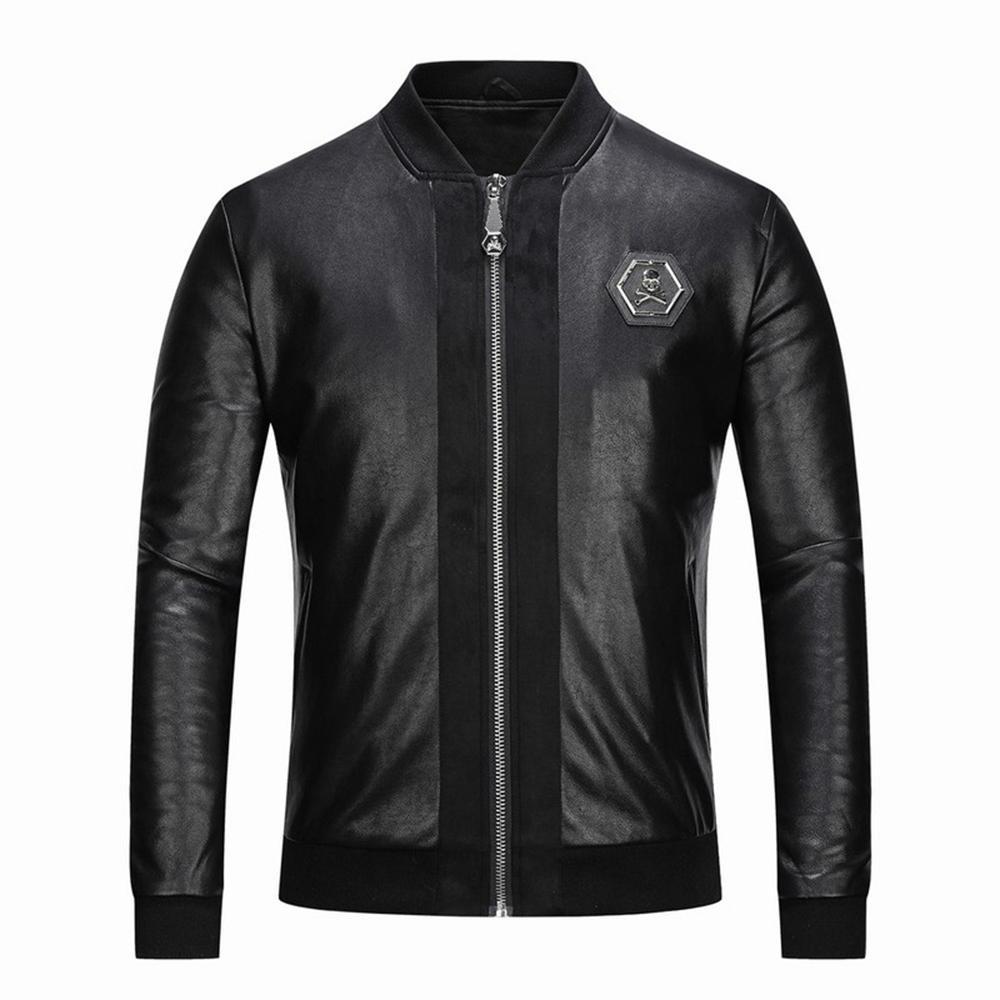Nouvelle broderie hommes Occident occasionnels mode crâne col de baseball manteau en cuir noir PU mince Veste moto