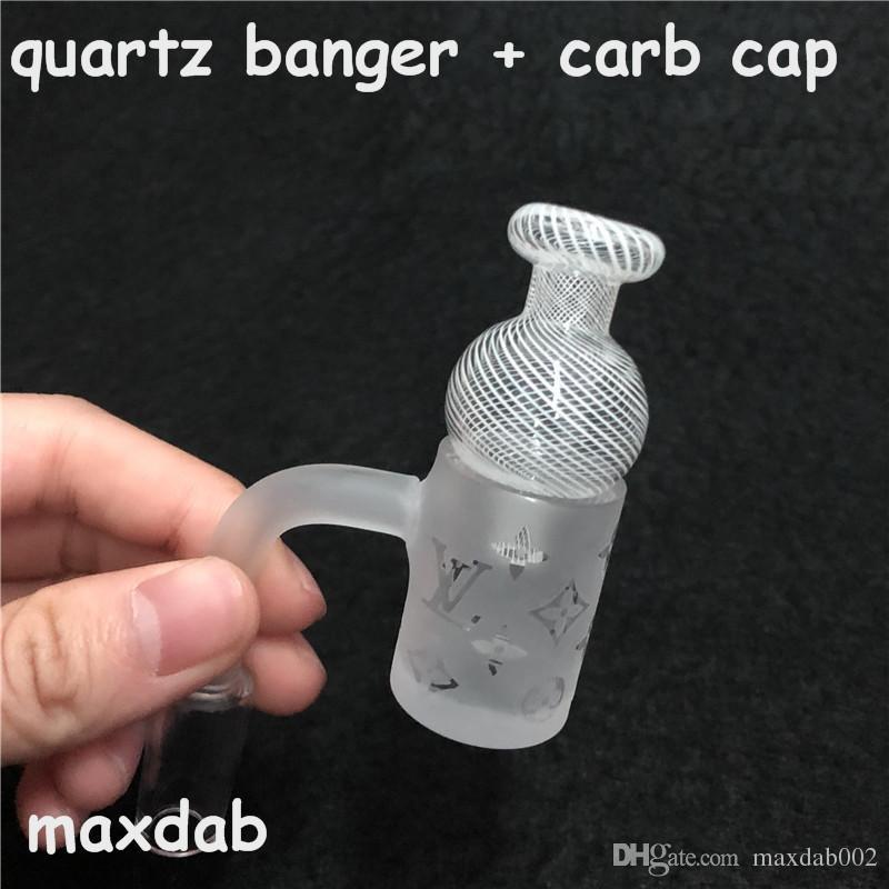 Novo puro Quartz Banger Prego com Padrão Mais Novo e Carb Cap para banger de quartzo Masculino 14mmJoint 90 Graus Para Bongos De Vidro tubo de água