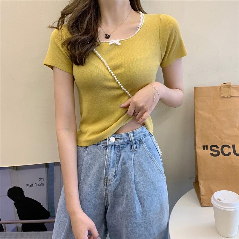 esKXM Pequenas mulheres costura máquina colar quadrado mangas curtas short slim T-shirt de malha T-shirt top coat para rendas topo