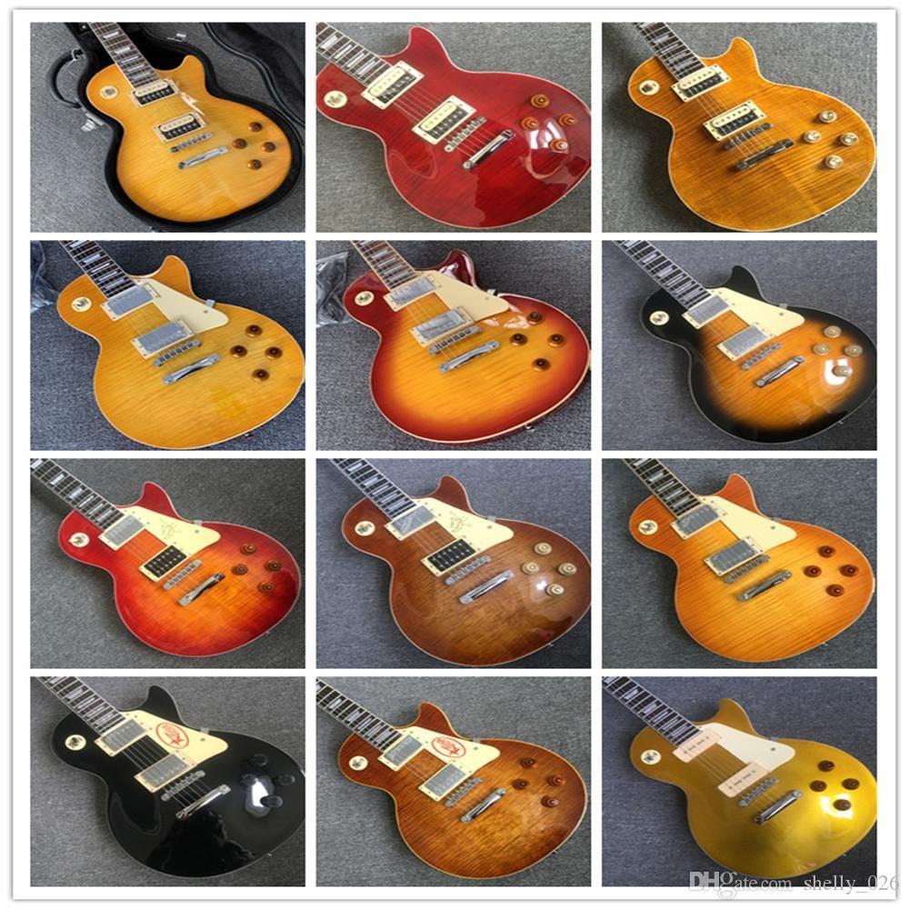 Тайгер пламени 1959 R9 LP стандартные электрические гитара по кускам тела шеи, Настройтесь-O-Matic мостом, лада связывание бесплатной доставки цветой гитары Guit