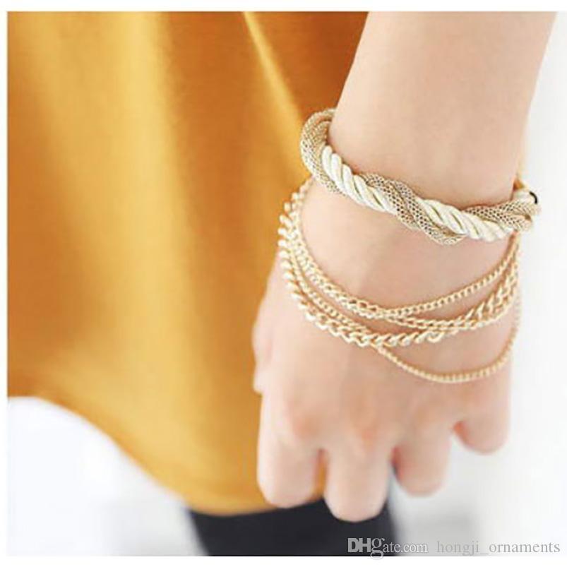 Multistrato gBracelet vecchia catena di metallo di colore cromato e velluto color corda coreano maglia togather ginocchiera fermagli per le donne bellissimo regalo