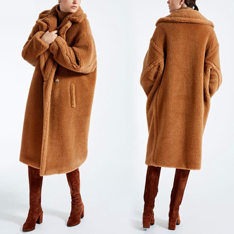 Faux-Pelz-Mantel-Frauen 2019 beiläufige Pelz Plus Size starke warme Jacke Lange-Pelz-Teddy Mantel Wintermantel Frauen casaco feminino T200104